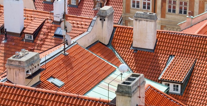 Old town houses roofs, Prague, Czech Republic