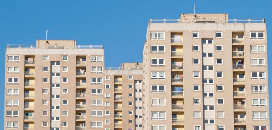Council Apartment Blocks against a Blue Sky
